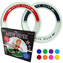Activ Life Kid's Flying Rings  Glow-in-The-Dark  2 Pack - Cool Outdoor Toys for Healthy Children to Play Outside with Family & Friends - Fun Birthday Party Favors for Girls & Boys 4 5 6 7 8 9 10 11