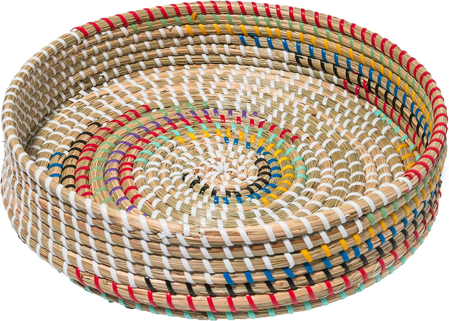 Round Woven Seagrass Tray Wall Decor Wicker Fruit Snack Serving Bowl Boho Wall Decor for Living Room Grocery Basket User