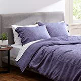 Amazon Brand – Rivet Lightweight Transitional Chambray Duvet Cover Bedding Set, Easy Care, Full / Queen, Chambray