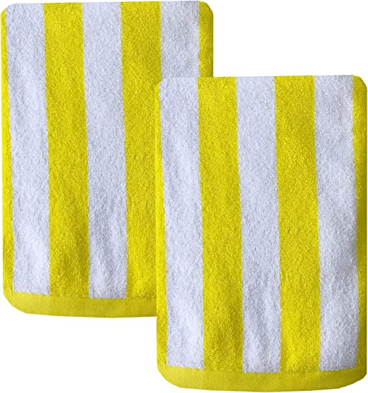Soft and Plush Absorbent Terry Cotton Terry Pool and Spa Towel Set 2 Pack Espalma Copa Cabana Stripe Cotton Beach Towel Parrot Green Over Size Luxury 30 Inch Wide x 60 Inch Long Set of 2