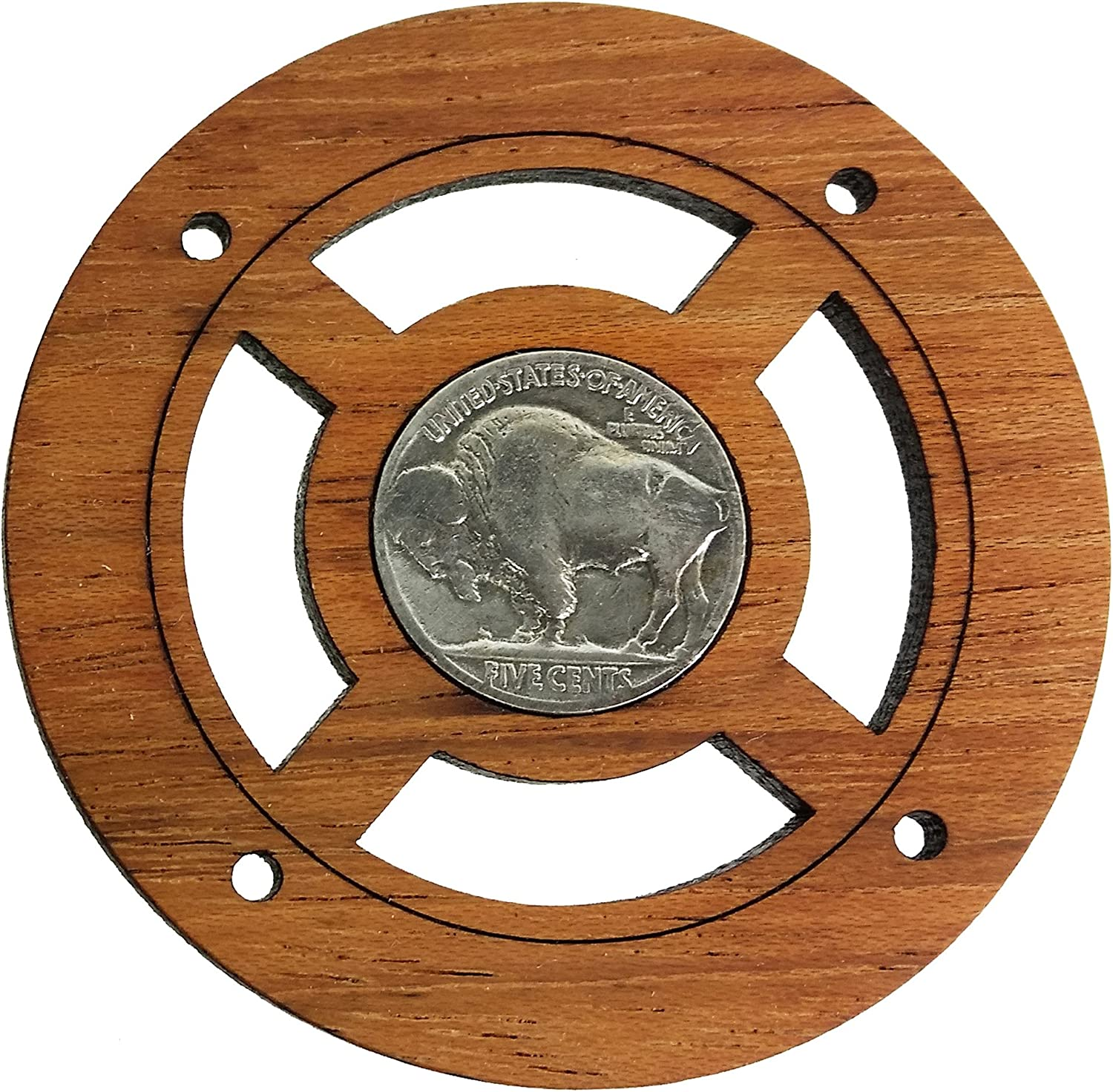 """Vintage Coin Sound Hole Cover for Cigar Box Guitar /""""Buffalo Nickel/"""" Front Side"""