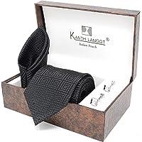 Kanthlangot Jacquard Self Design Black Pattern with White Dots Tie Pocket Square and Silver Cufflinks Set for Men