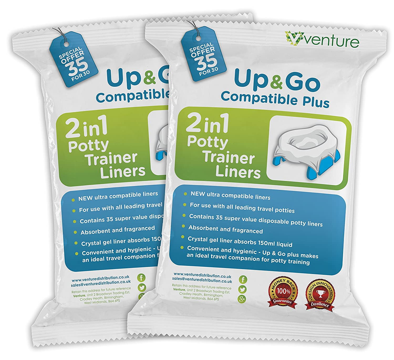 **NEW RELEASE** 70 Pack | Pote Plus 100% Compatible Travel Potty Liner | Get 70 Up & Go Travel Liners For The Price Of 60 Venture UP&GO | 70