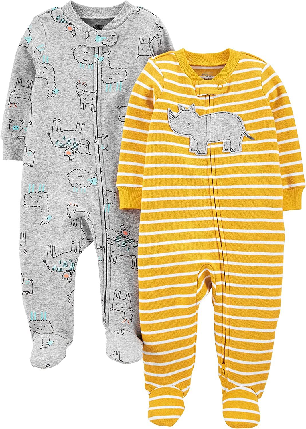 Simple Joys by Carters Confezione da 2 Zip A 2 Vie in Cotone per Dormire E Giocare Infant-And-Toddler-Sleepers Bambino