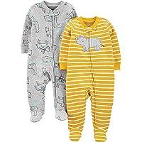 Simple Joys by Carter's Algodón con pies para Dormir y Jugar Bebé-Niños, Pack de 2