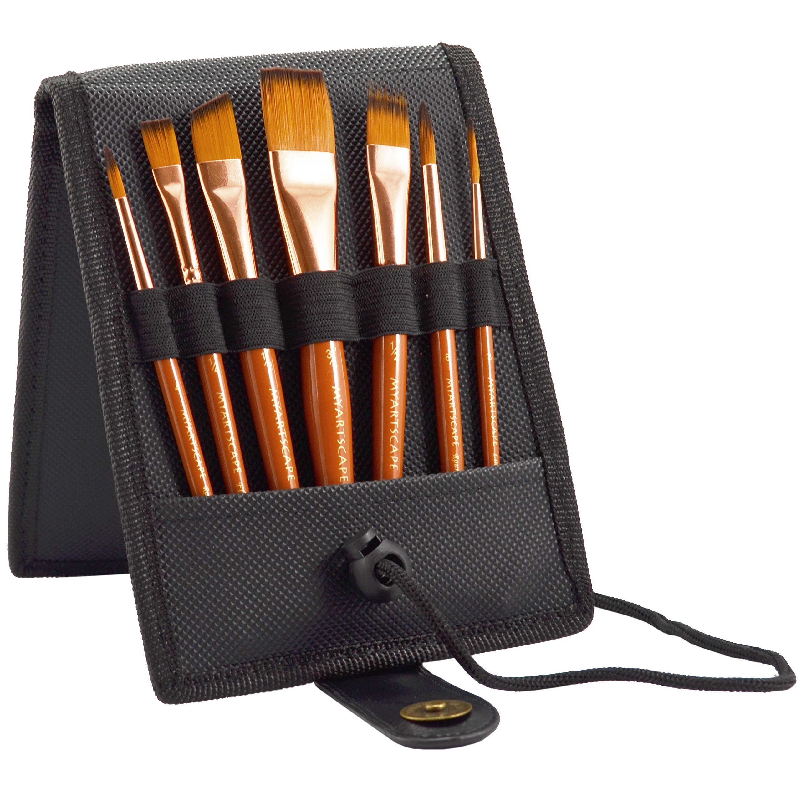 Paint Brush Set - 7 Travel Brushes for Acrylic, Oil, Watercolour, Gouache and Plein Air Painting - Ultra Short Handle - Professional Artist Carry Case (Black) - 1 Year Warranty by Myartscape