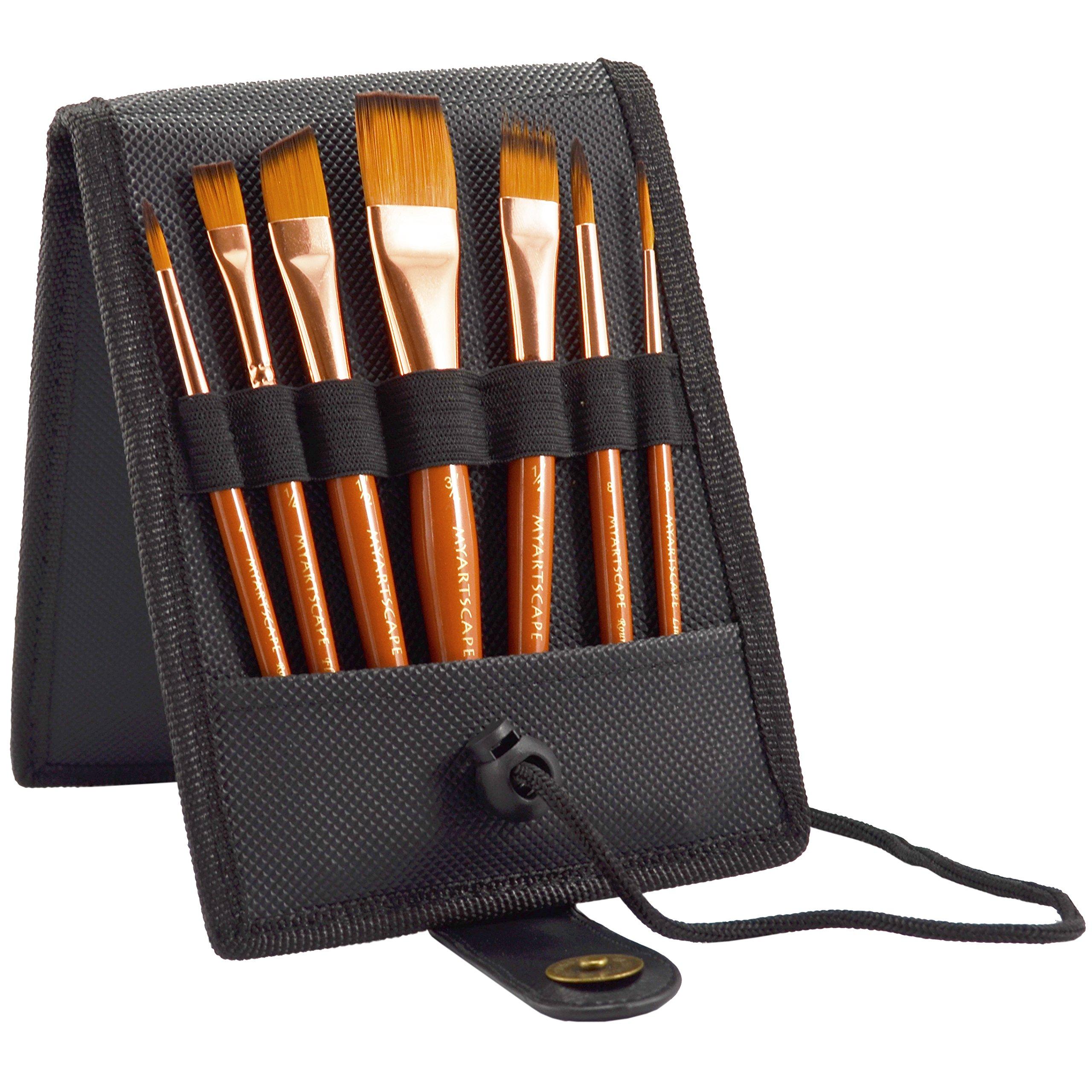 MyArtscape 7-Piece Short Handle Paint Brush Set with Artist Carry Case, Black