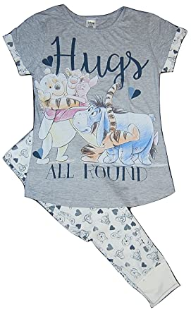 4406ffc23ce81 Ladies Womens Pjs Pyjama Short Sleeved Winnie the Pooh Eeyore Piglet Tigger  (8-10)  Amazon.co.uk  Clothing