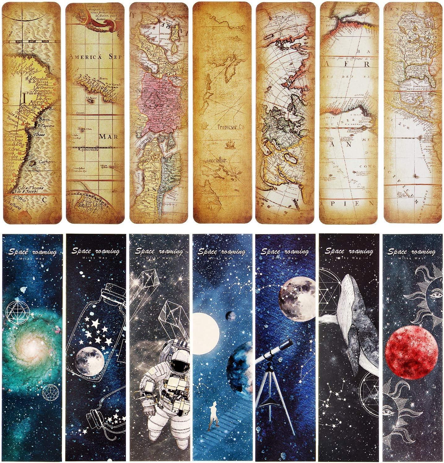 60 Piezas Marcadores de Libro de Itinerancia Espacial Marcapaginas de Estilo Vintage Cartón Retro Marcadores de Libro de Itinerancia para Oficina Estudiantes (Estilo Conjunto 1)
