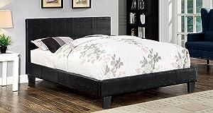 Furniture of America Hariett Leatherette Platform Bed, Queen, Brown