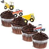 Juvale 200-Piece Construction Cupcake Toppers - Truck Picks for Kids Birthday Party Supplies, 4 Assorted Designs, 1.5 x 3 Inches