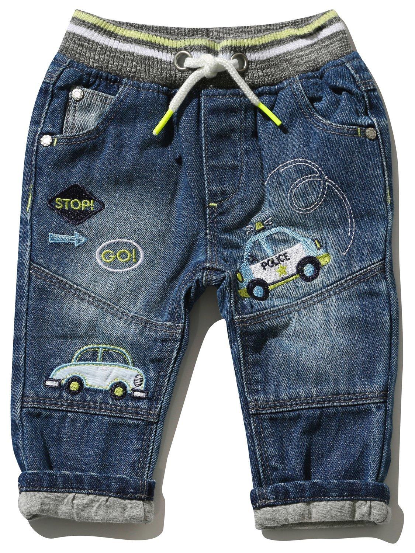 M&Co Baby Boy Cotton Blue Denim Transport Applique Badge Stripe Rib Waist Jeans