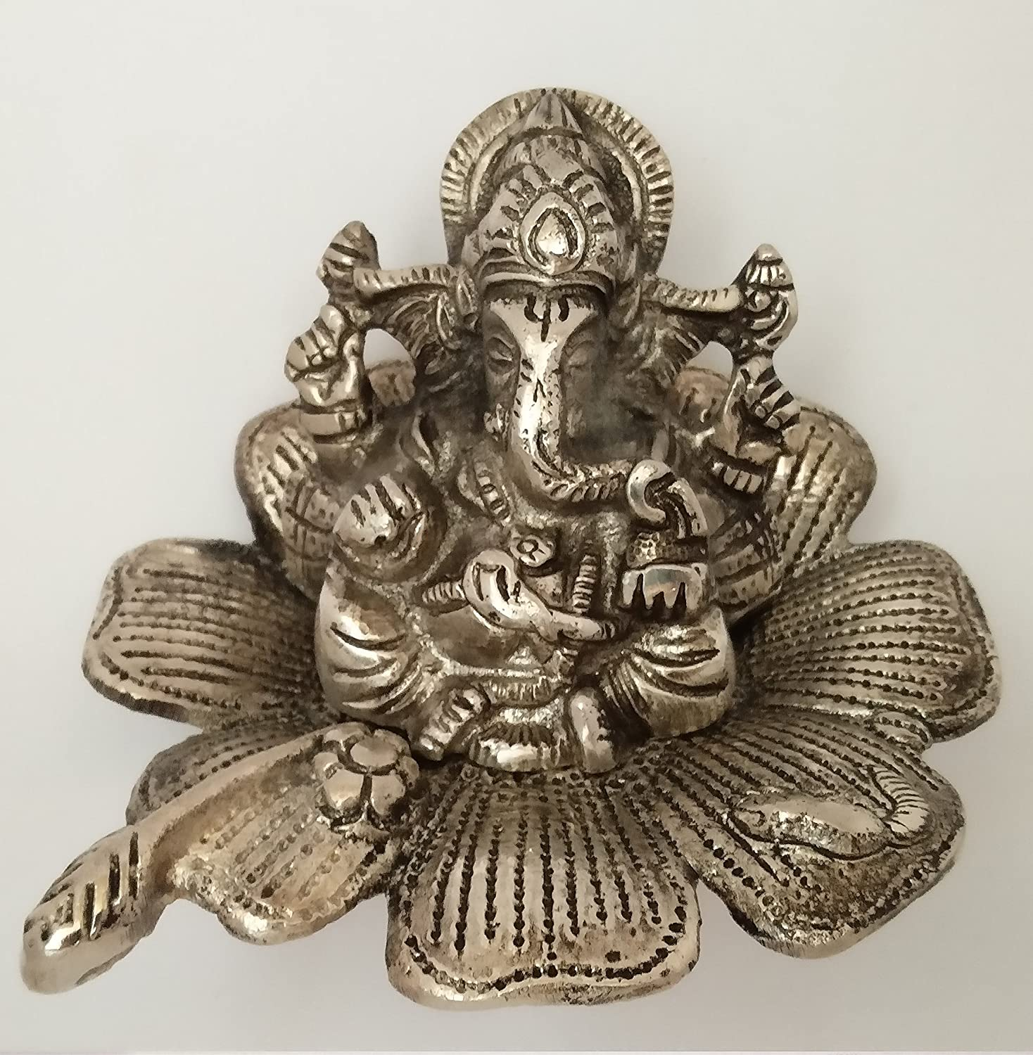 Buy Aayam Design And Solutions White Metal Ganesh Idol Lotus 8 Cm