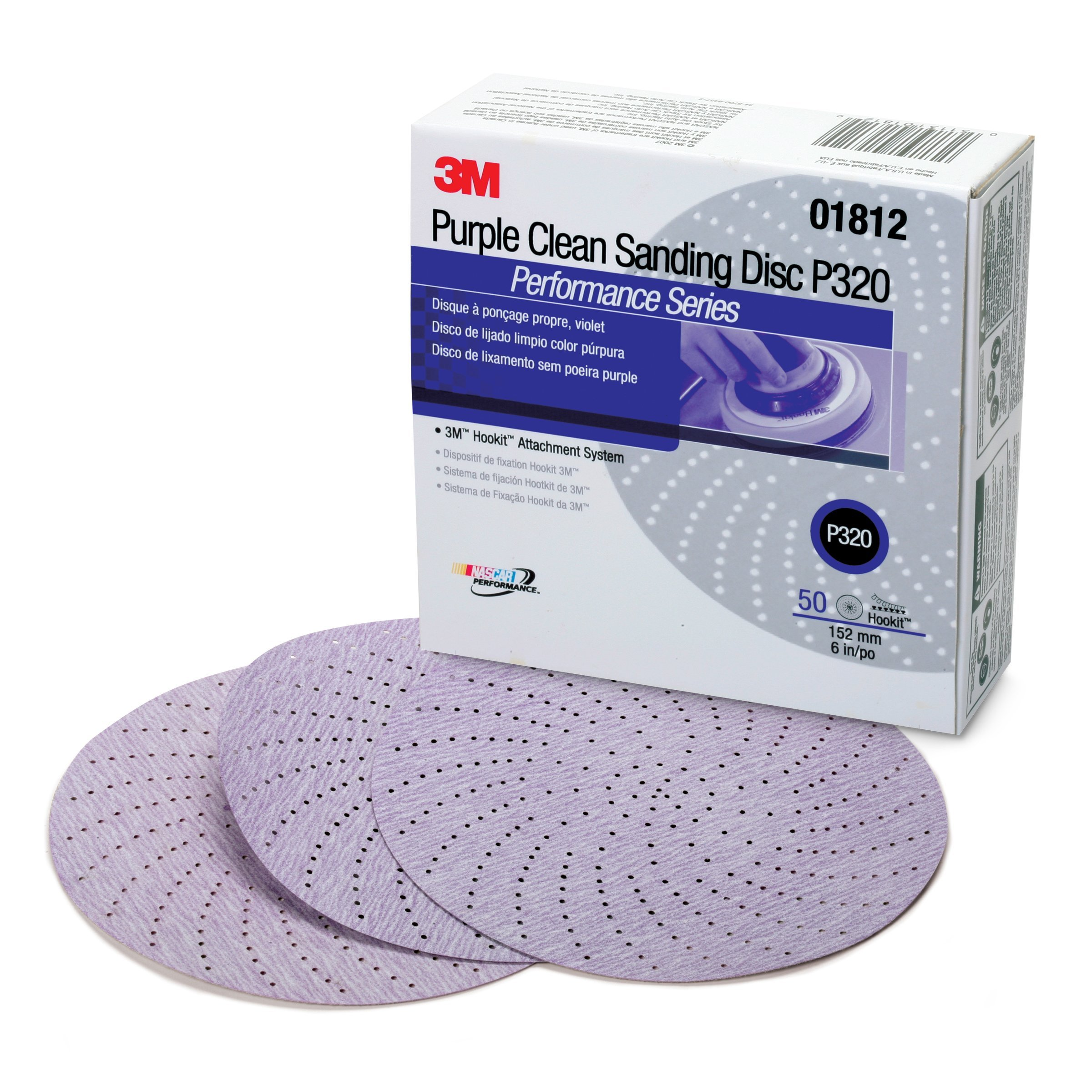 3M 01812 Hookit 334U Purple 6'' P320C Grit Clean Sanding Disc by 3M