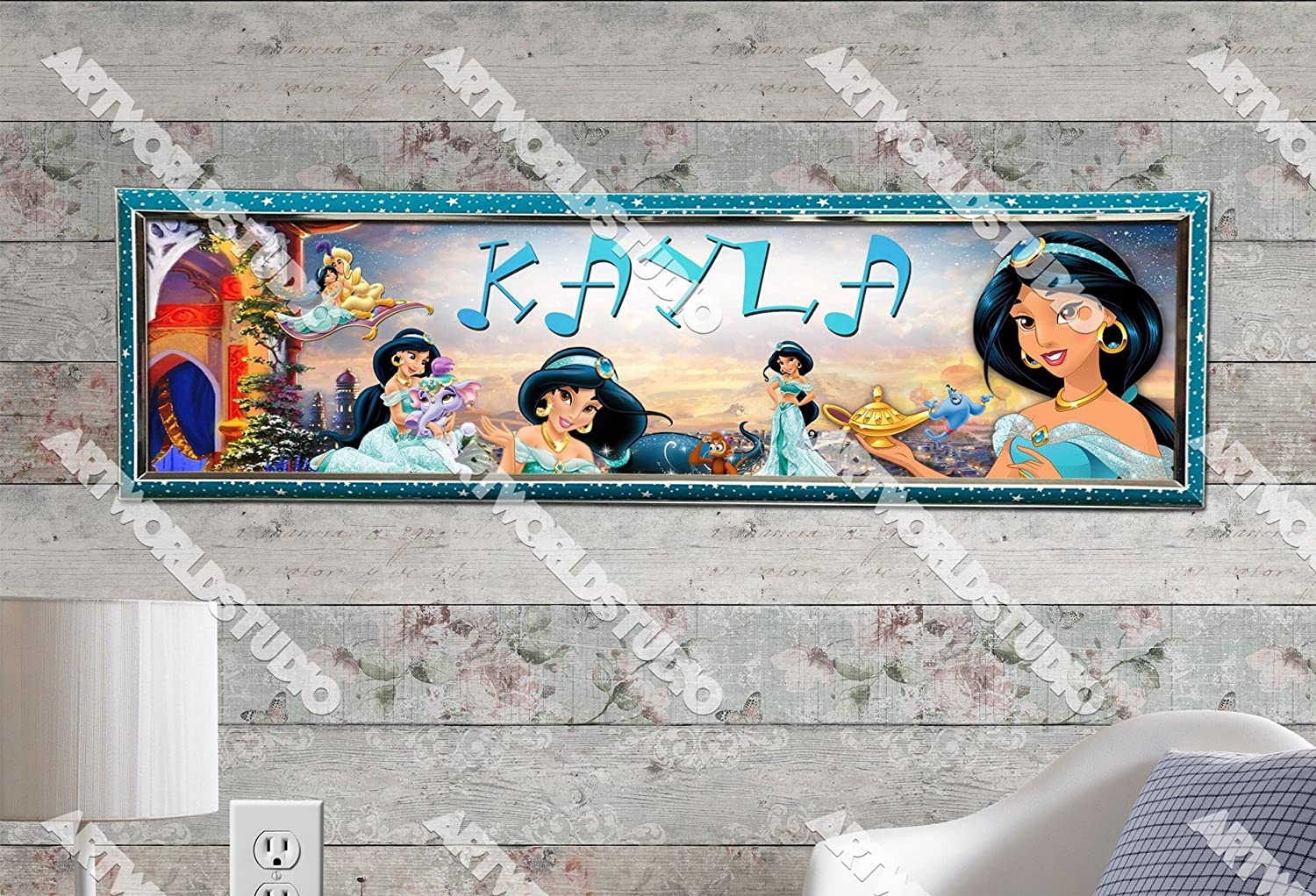 Personalized Customized Disney Princess #2 Name Banner Wall Poster with Frame