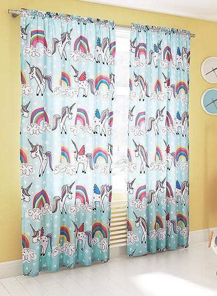 Primor Casa Rainbow Unicorns Bedroom Curtain Panel Set for Girls, 4 Pieces,  Light Green Pink, Rich Cotton