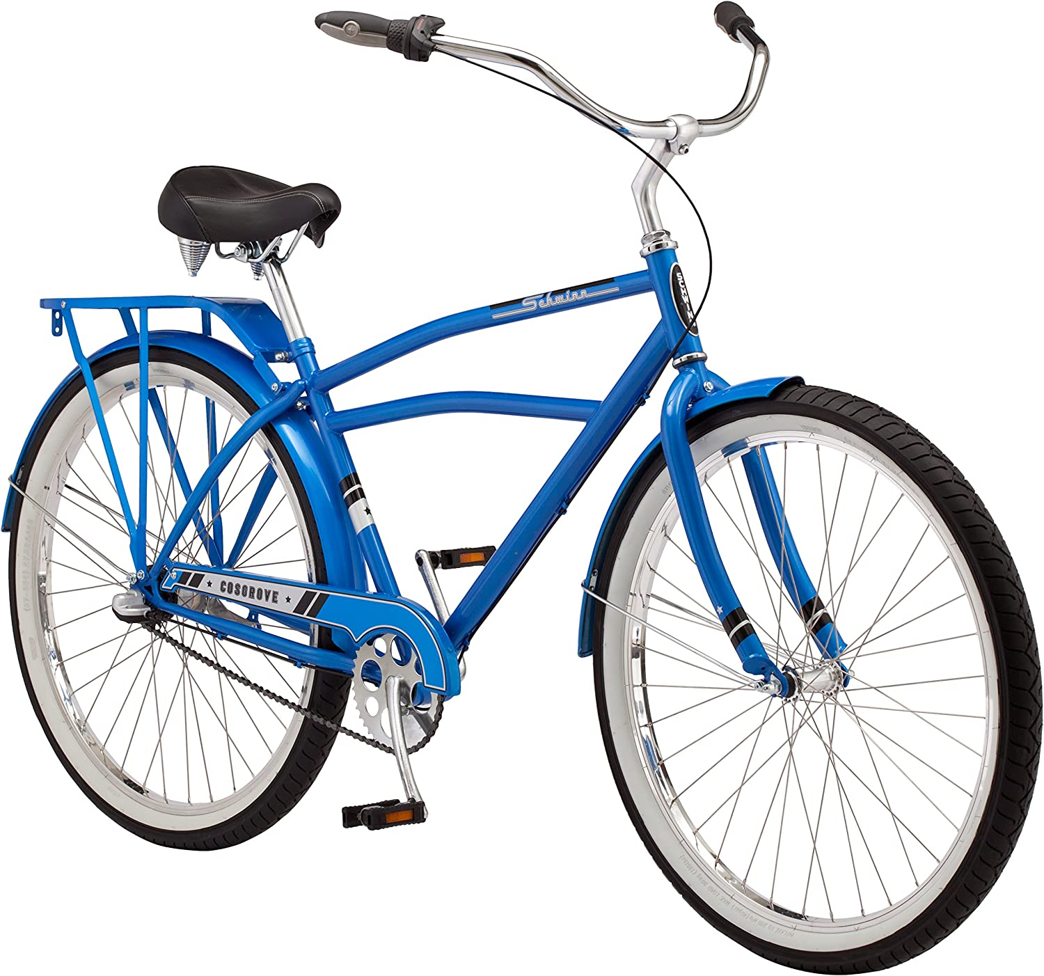 Schwinn Cosgrove Comfort Cruiser Bike, Medium Step-Over Steel Frame, Shimano 3-Speed Internal Drivetrain, Front and Rear Fenders, Rear Rack, Kick Stand, and 27.5-Inch Wheels, Blue