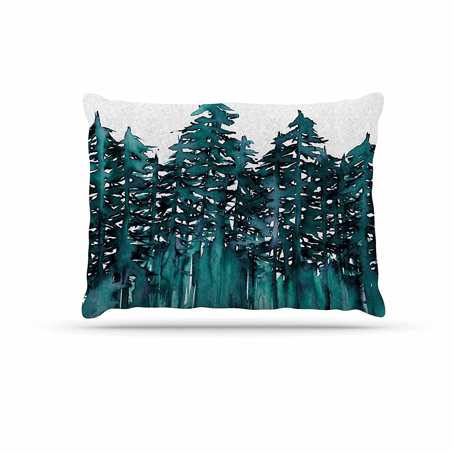 KESS InHouse EBI Emporium Forest Through The Trees 5  Teal White Dog Bed, 50  x 40