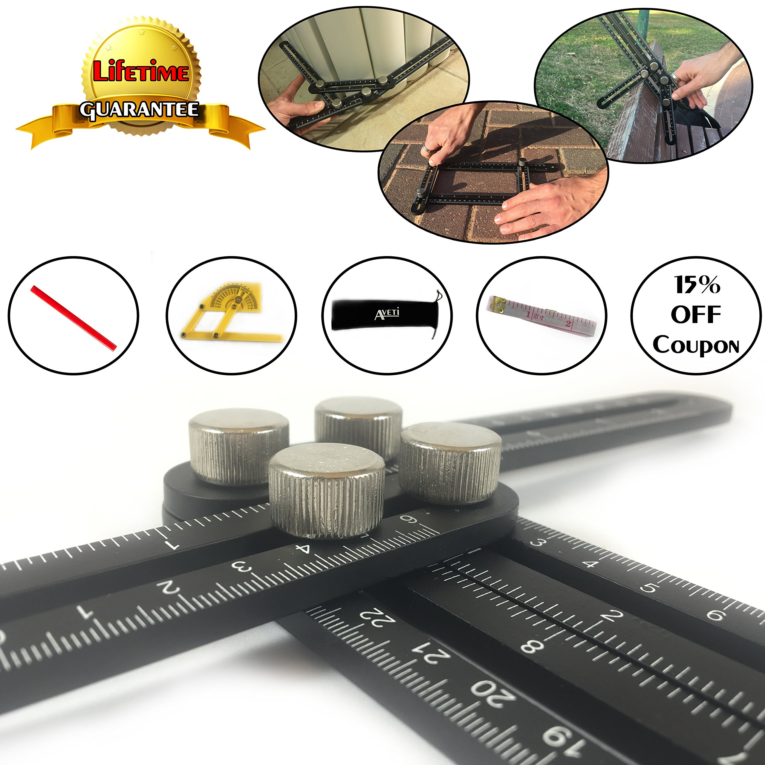 Template Tool Multi Angle Measuring Ruler- Must Anglerizer Tool For Builders, Craftsmen, Handymen and DIY-ers