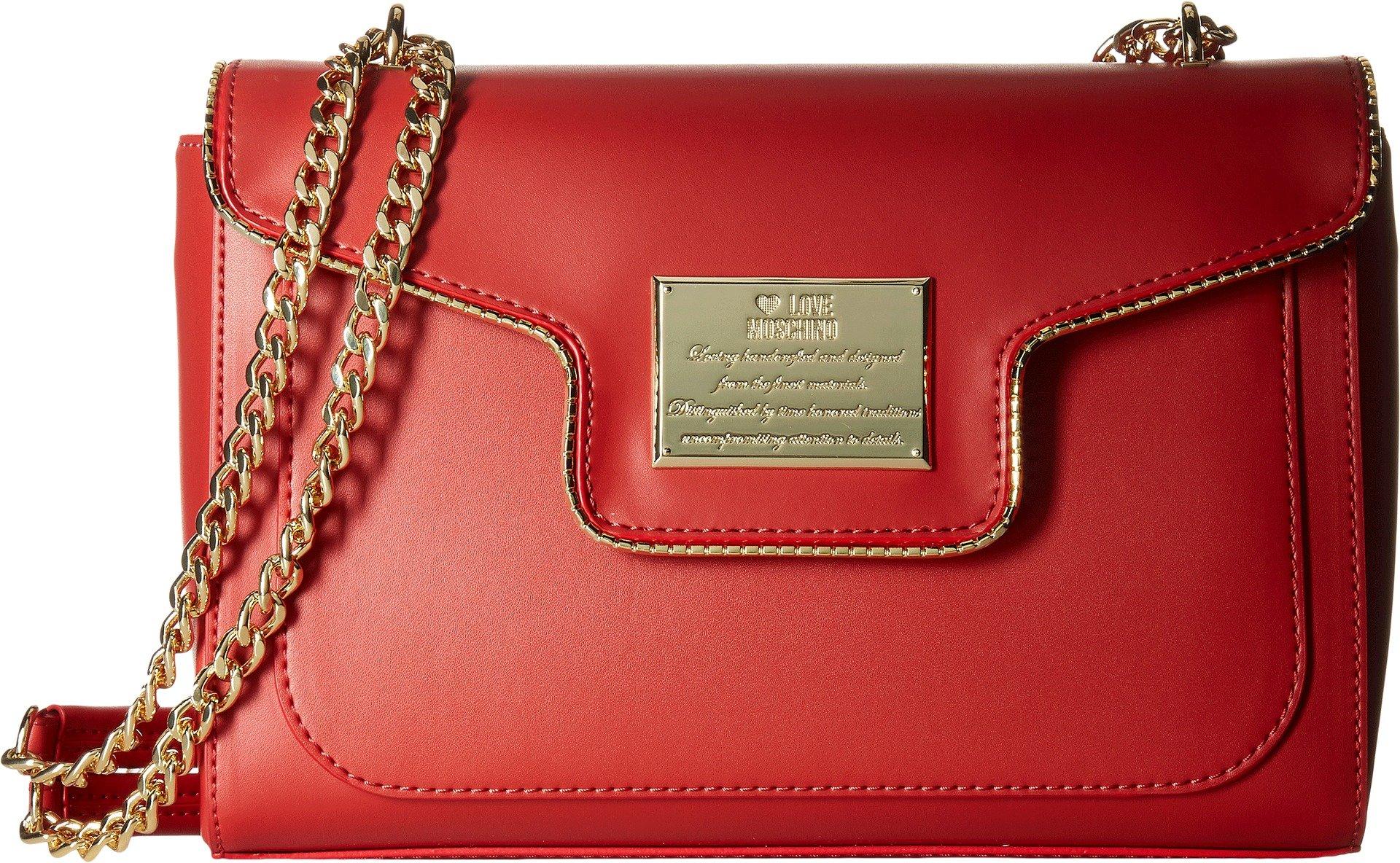 LOVE Moschino Women's Plaque Flap Shoulder Bag Red Handbag
