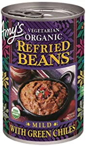 Amy's Vegetarian Organic Refried Beans, Mild with Green Chiles, 15.4 Ounce
