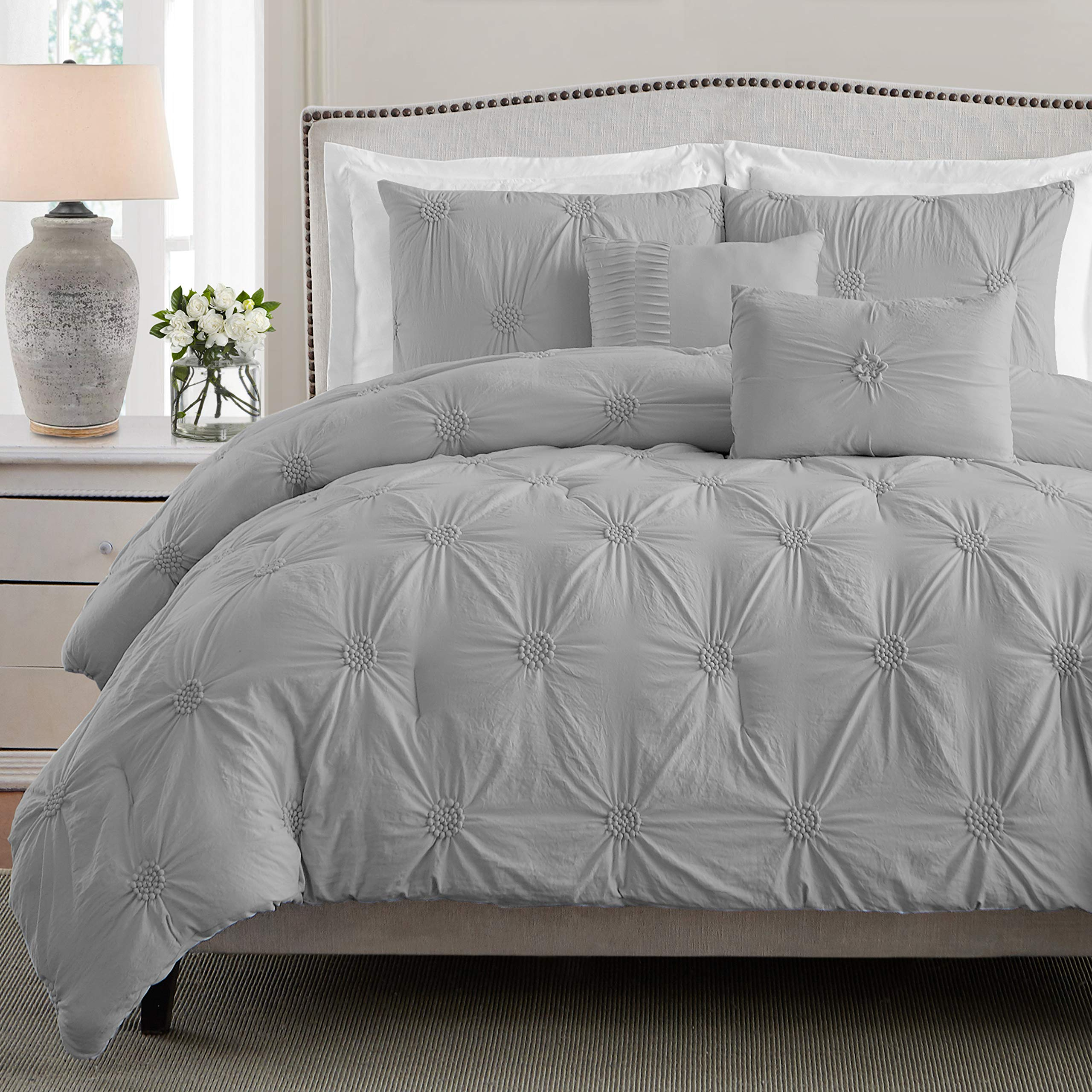 CDM product Swift Home Premium Bedding Set Collection 2-Piece Floral Ruched Pinch Pleat Pintuck Comforter Set - Twin/Twin XL, Gray small thumbnail image