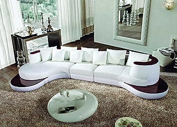 Amazon.com: 105B – Moderno Seccional sofá de piel regenerada ...