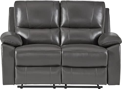 "Homelegance Greeley 59"" Genuine Leather Reclining Love Seat"