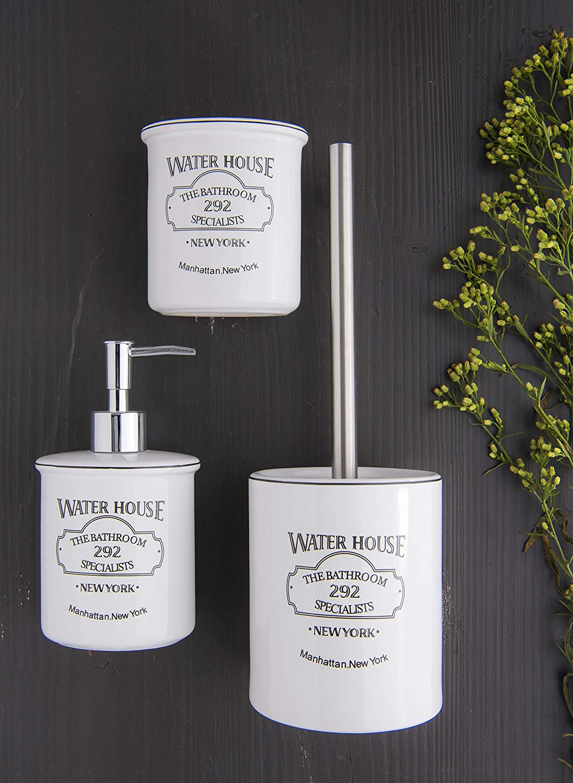 Dekoschild Sosenco WC Schild Vintage Blechschild 12x12 cm Toilettenschild Keramik Emaille WC T/ürschild Emailschild Wetterfest