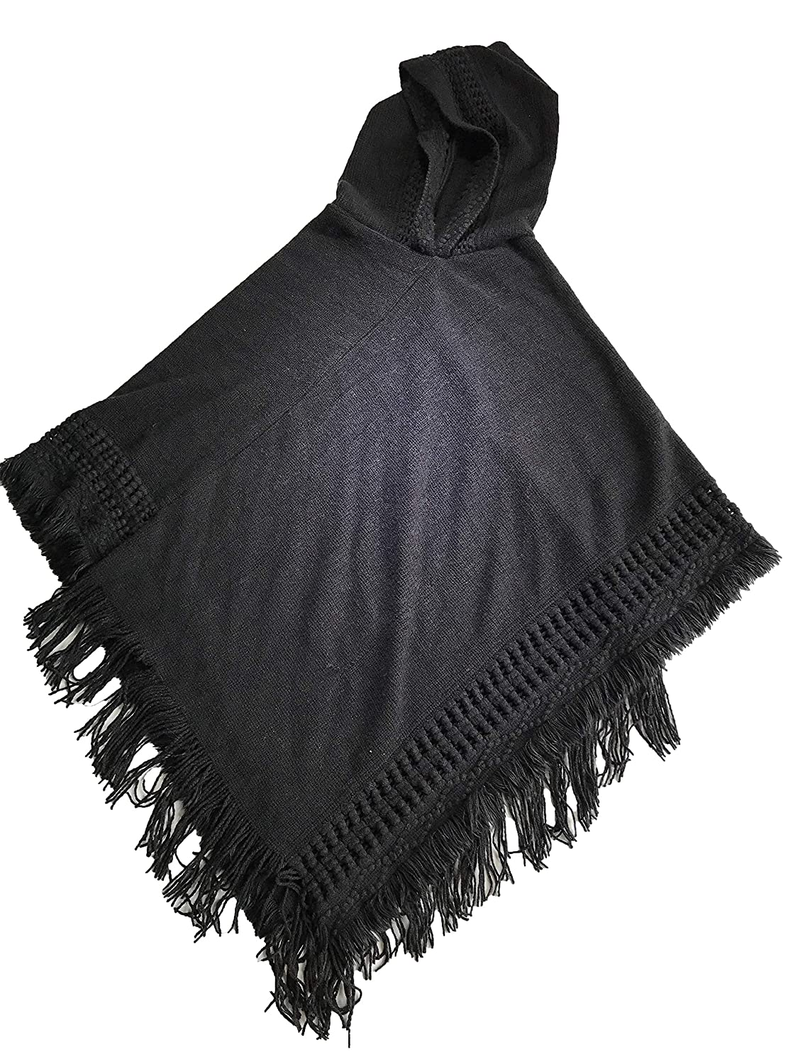 Autumn winter new knitted hooded cape shawl monochrome pullover cape