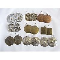 Pack de 9 pares de pendientes de chapa