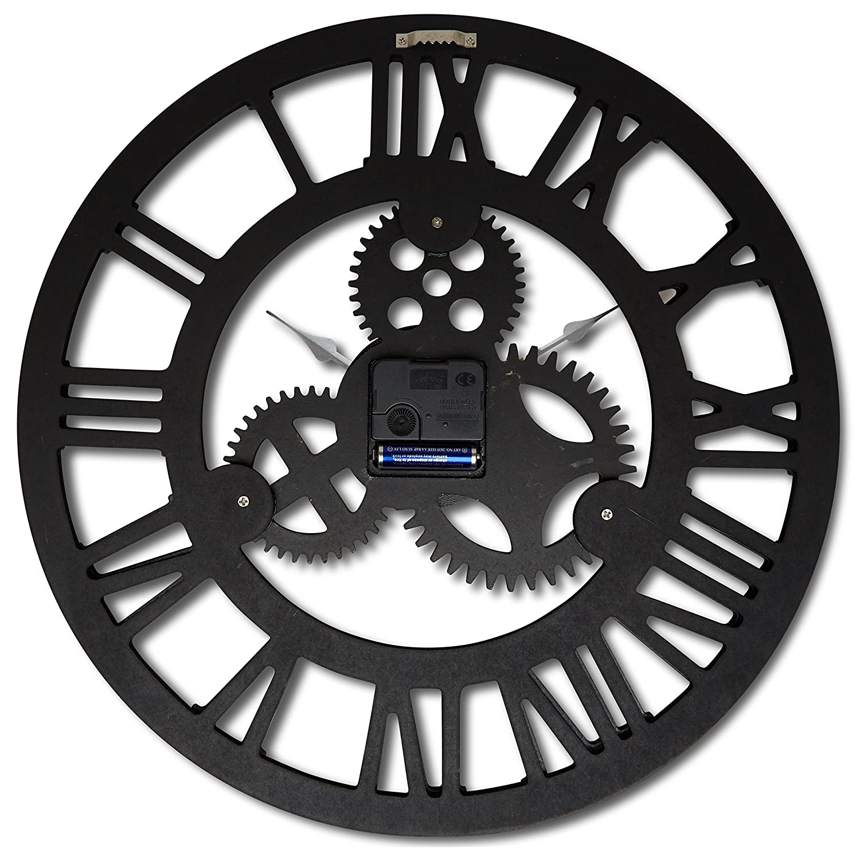 Wooden Handmade 3D Gear Design Antique Vintage 16 Round Wall Clock Silver with Roman Numerals