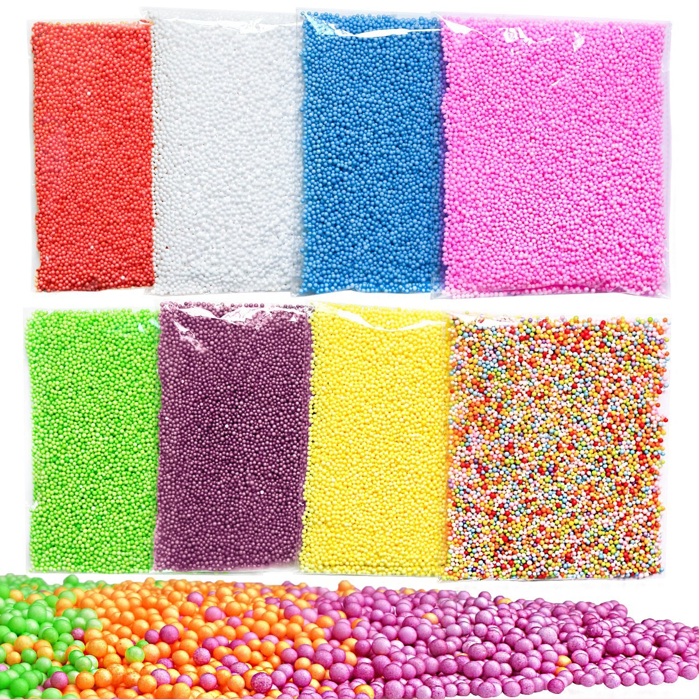 gemoor 8unidades Mini de espuma de poliestireno bolas de Limo, pequeño Tiny perlas de espuma para hacer Floam escuela artes artesanía suministros, 0,1–0,18cm, 40000pcs 1-0