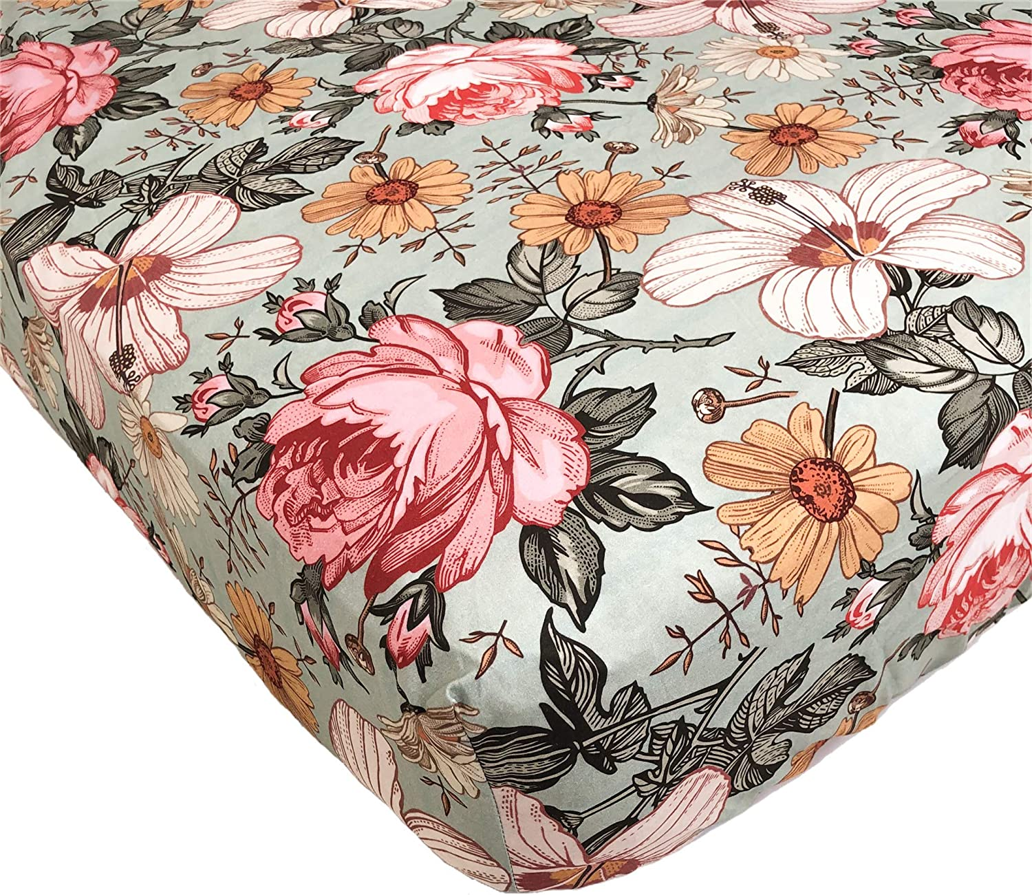 The Mini Scout Garden Floral (Sea Foam) - Woven Cotton Fitted Crib Sheet for Baby Nursery Bedding Inspiration, Infant Bassinet Mattress Cover, Toddler Mattress Bed