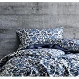Luxury Duvet Cover Vintage Portuguese Tiles Multicolored Azulejos Medallion Denim Blue Pattern 3 Piece Cotton Bedding Set (Queen, Pottery Navy)