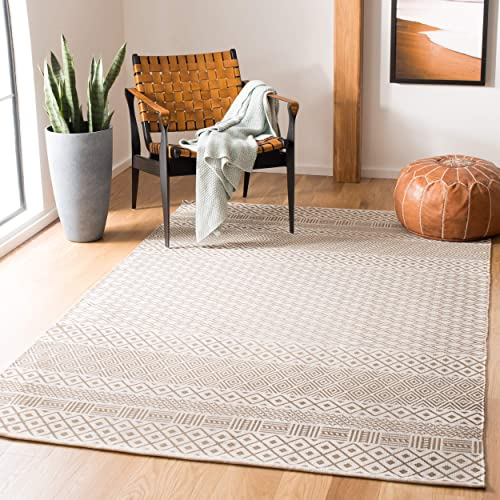 Safavieh Cedar Brook Collection CDR801F Hand-Woven Cotton Area Rug, 4 x 6 , Grey Ivory