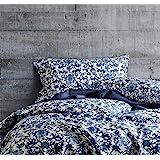 Luxury Duvet Cover Vintage Portuguese Tiles Multicolored Azulejos Medallion Denim Blue Pattern 3 Piece Cotton Bedding Set (Qu