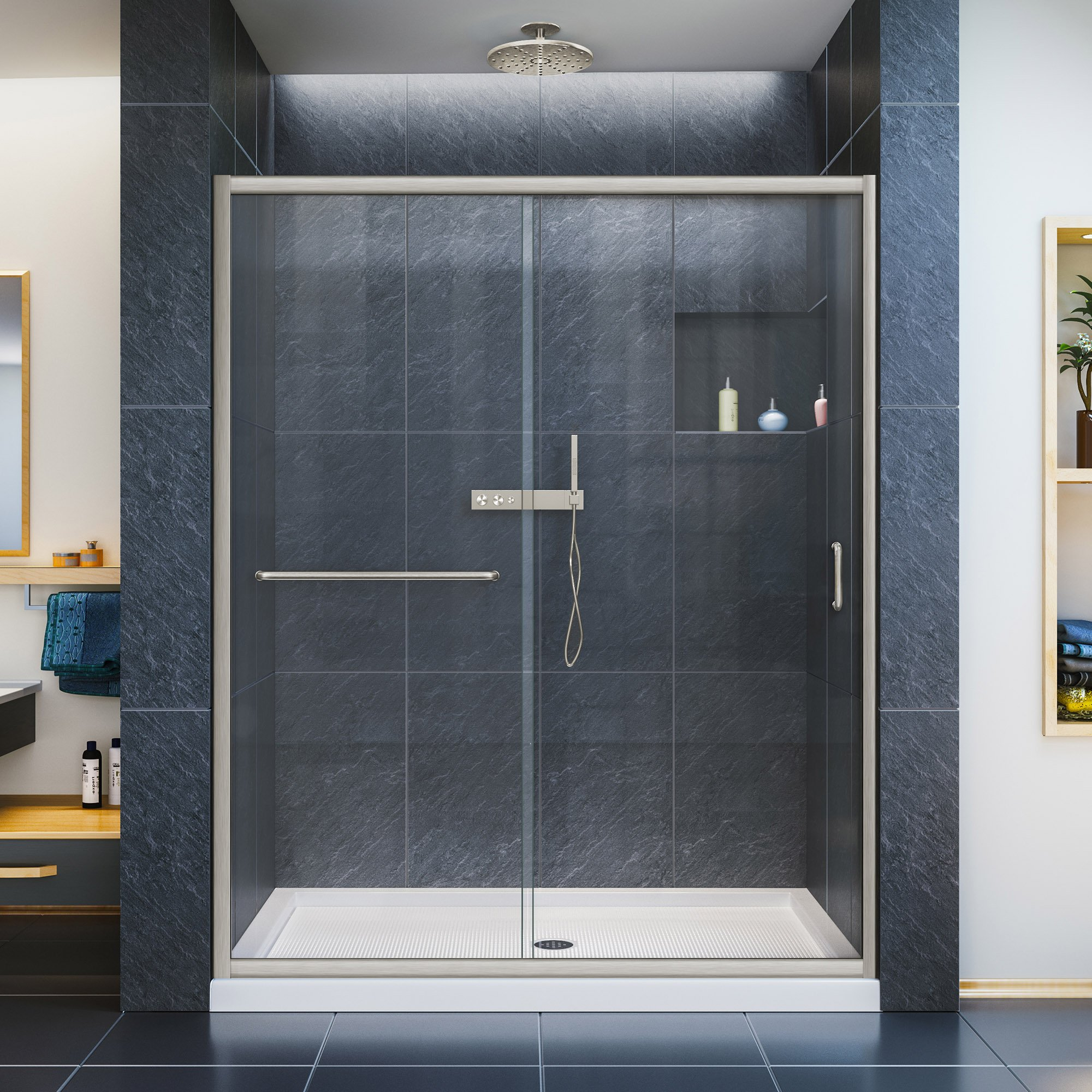 DreamLine Infinity-Z 50-54 in. W x 72 in. H Semi-Frameless Sliding Shower Door, Clear Glass in Brushed Nickel, SHDR-0954720-04 by DreamLine (Image #1)
