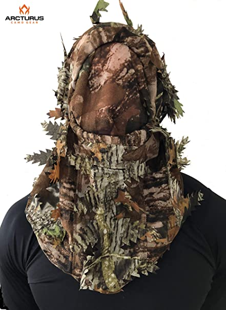 Hunting Suit Full Cover Ghillie Leafy 3D leaf camo Face Mask Woodland Breathable