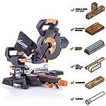 Evolution Power Tools R185SMS+ Sierra ingletadora deslizante compuesta de 7-1/4 pulgadas Plus