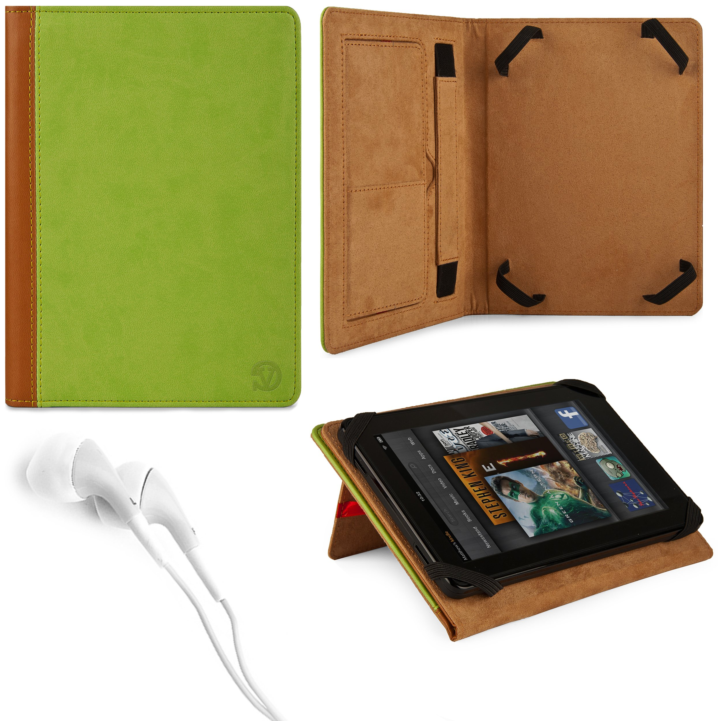 Marry Edition VG Brand Folio Stand Alone Protective Leatherette Carrying Case Cover Case Cover-(Green) for Coby Kyros MID7048-4 (Capacitive ) 7-inch Android Tablet + White Stereo Hifi Noise Isolating Premium Headphones with Silicone Ear Tips