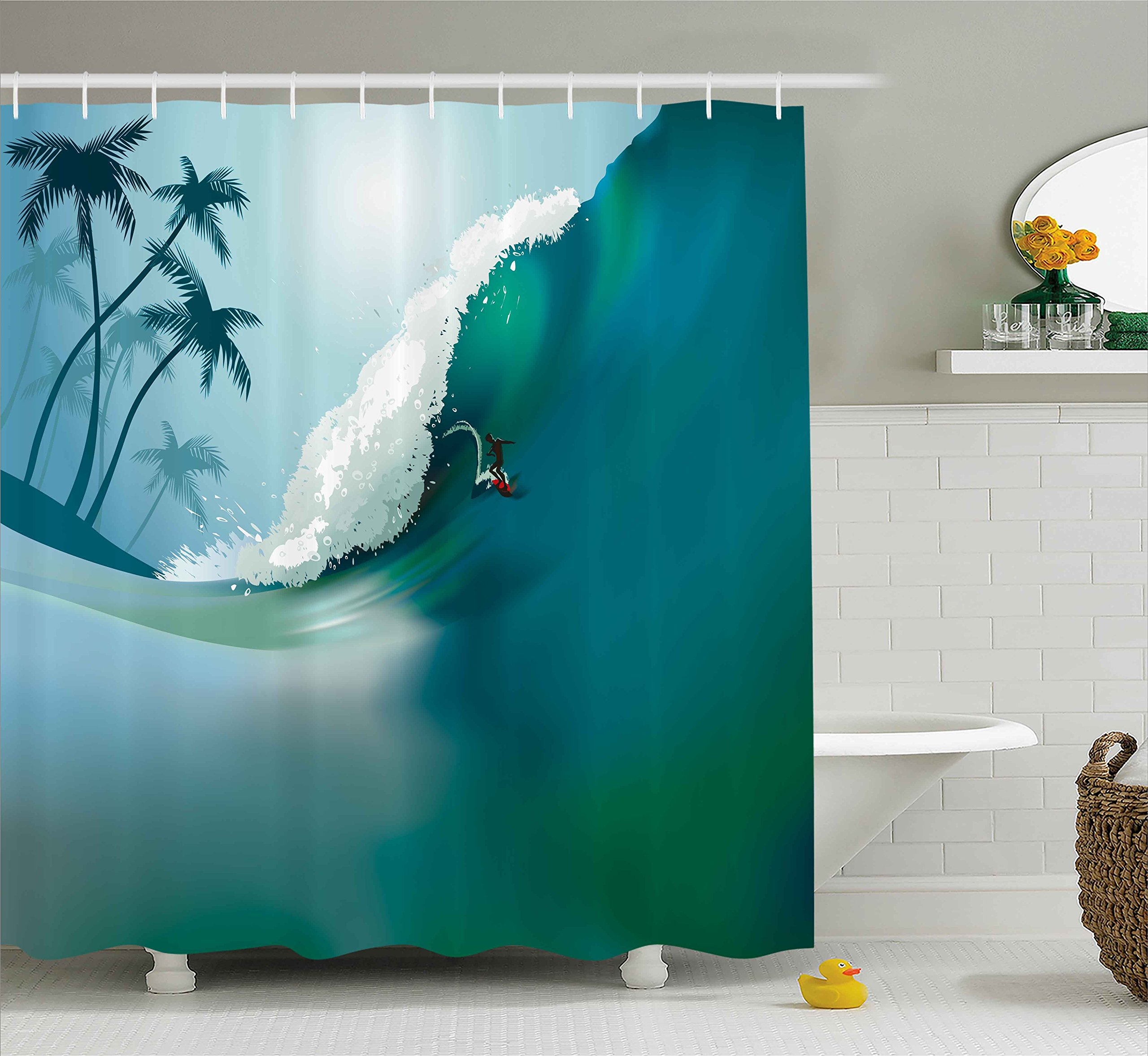 Ambesonne Sports Shower Curtain by, Surfing man on Big Ocean Wave Exotic Hobby Activity Leisure Sea Palm Trees Artful Graphic, Fabric Bathroom Decor Set with Hooks, 84 Inches Extra Long, Teal