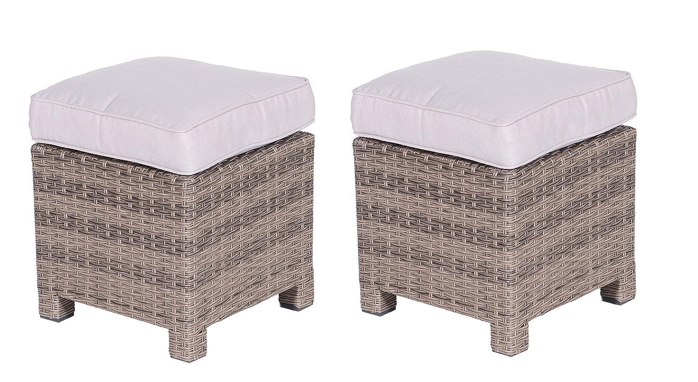 Garden Impressions Lounge Set Hocker 2x Hocker La Paz neu, kubu / sand braun