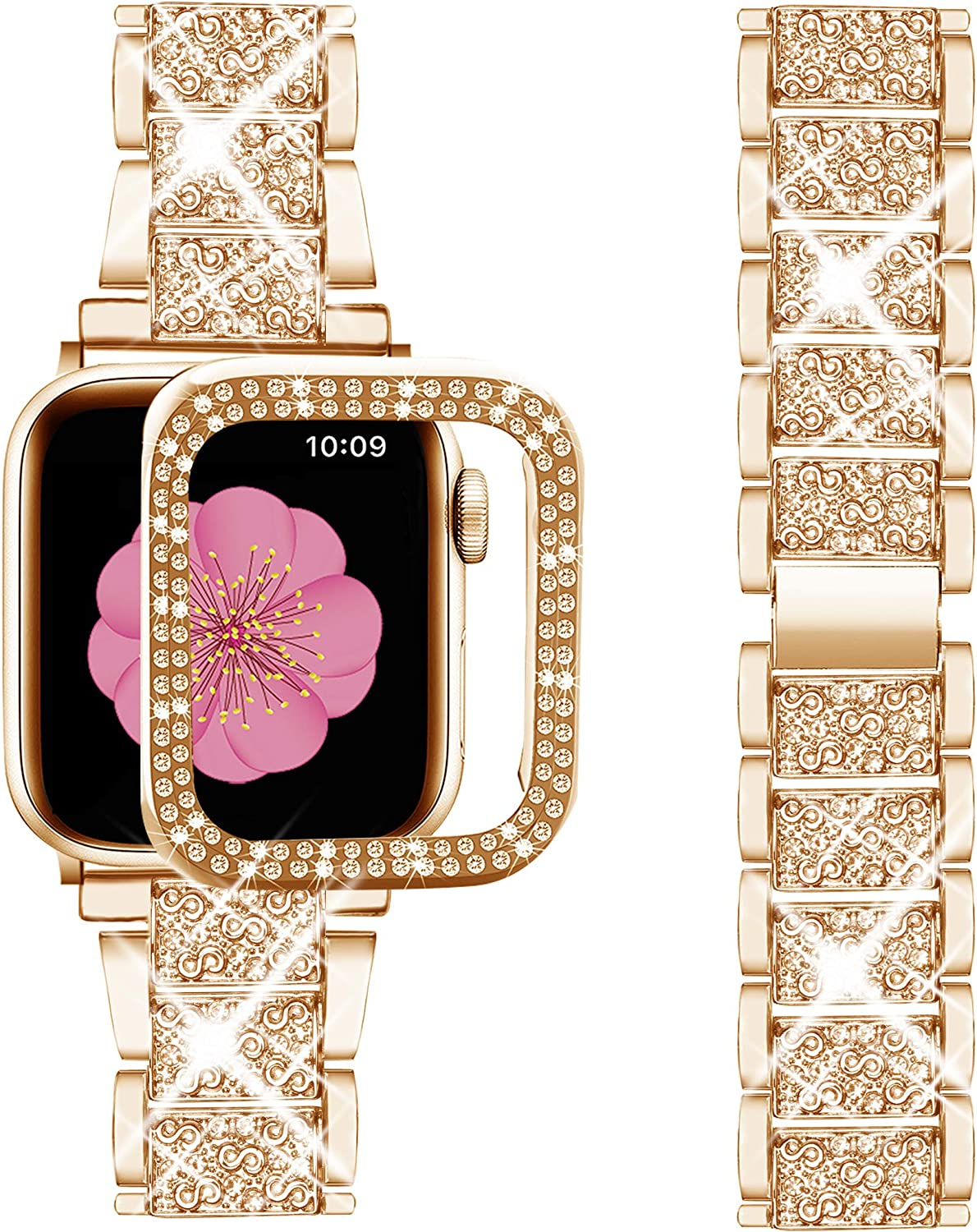 Supoix Compatible with Apple Watch Band 40mm + Case, Women Jewelry Bling Diamond Metal Strap & 2 Pack Bumper Frame Screen Protector for iWatch Series 6/5/4(Rose Gold/40mm)