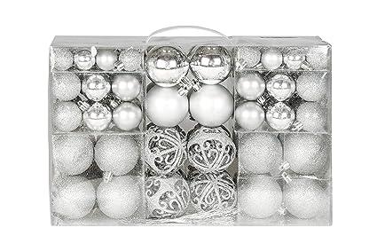 Christbaumkugeln Amazon.Exklusives Weihnachtskugeln Christbaumkugeln Set Mit 100 Stueck Farbe Silber