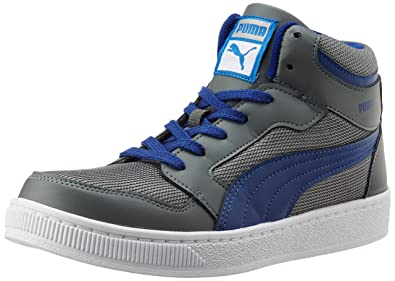 Puma Men's Rebound Mid Lite DP Limestone Grey and Sodalite Blue Sneakers -  10 UK/
