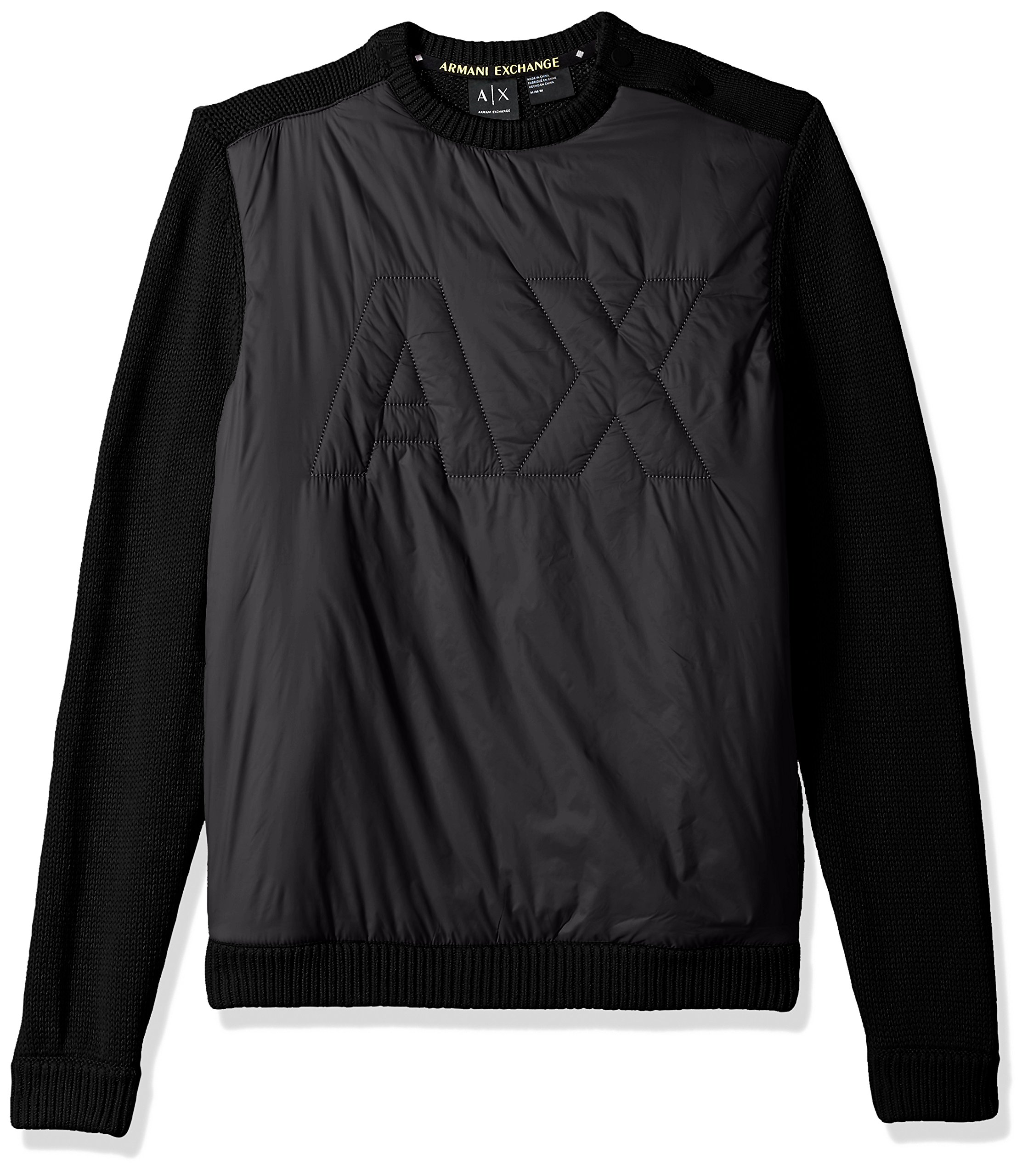 A|X Armani Exchange Men's Cotton Pullover With Padded Logo, Black, Medium