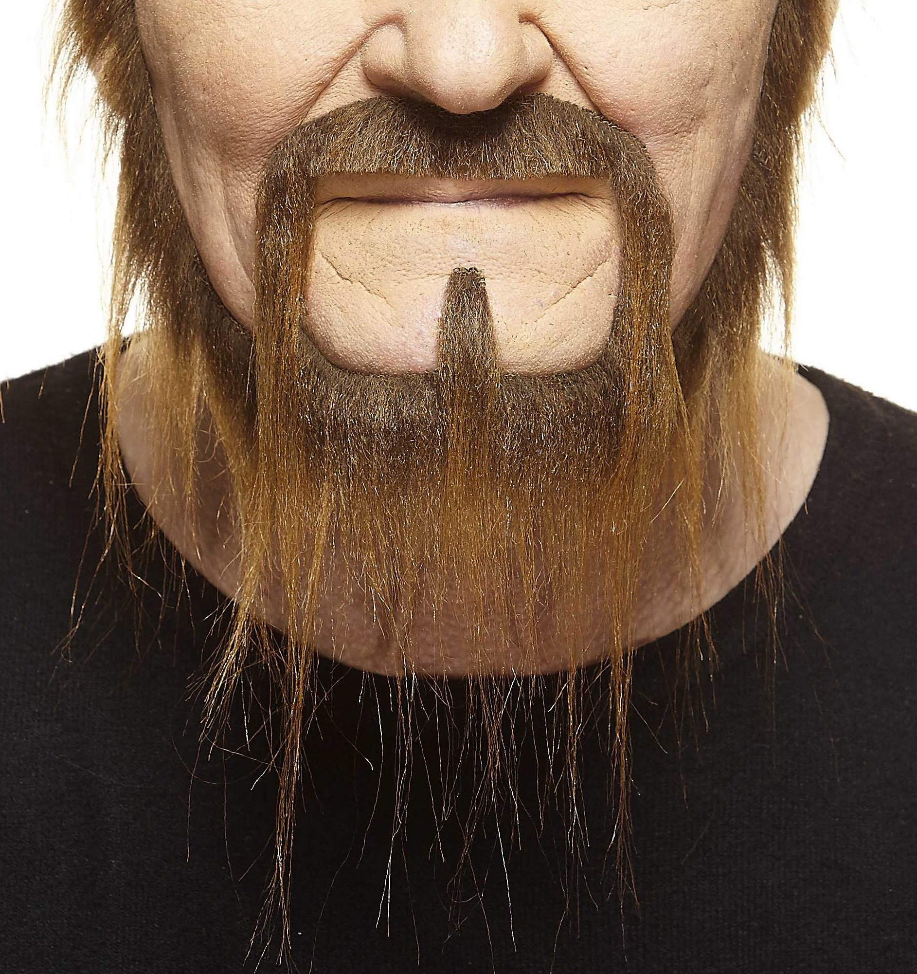 Mustaches Self Adhesive, Novelty, Long Squatter Fake Beard, False Facial Hair, Costume Accessory for Adults, Brown Color