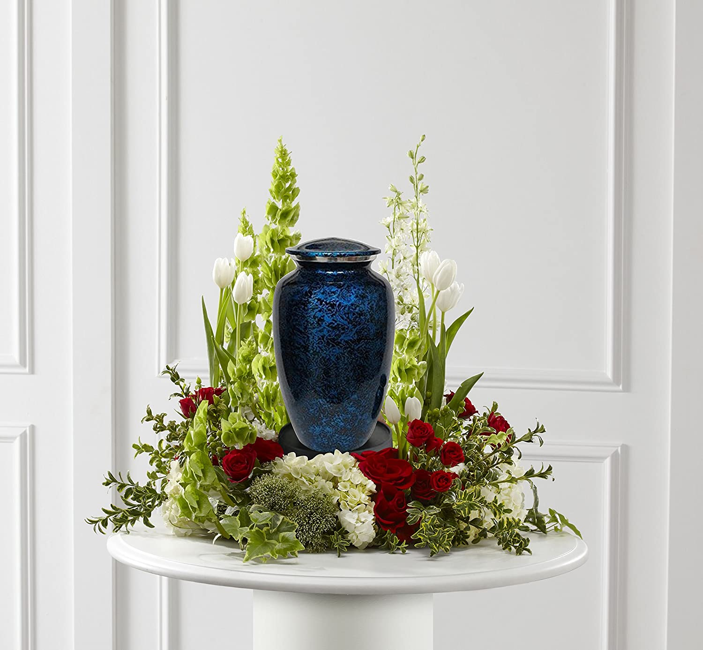 MEMORIALS 4U Memorials4u Forest Blue Cremation Urn for Human Ashes - Adult Funeral Urn Handcrafted - Affordable Urn for Ashes - Large Urn Deal