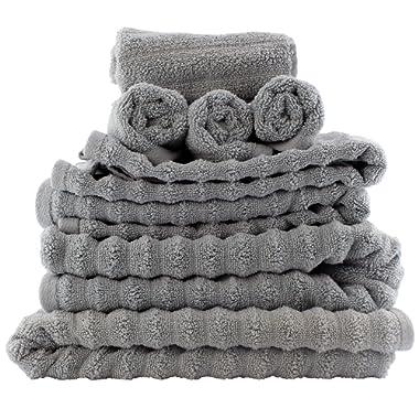 Darware 100% Cotton 8-Piece Bath Towel Set, Quick-Dry 510 GSM Zero-Twist (Gray)